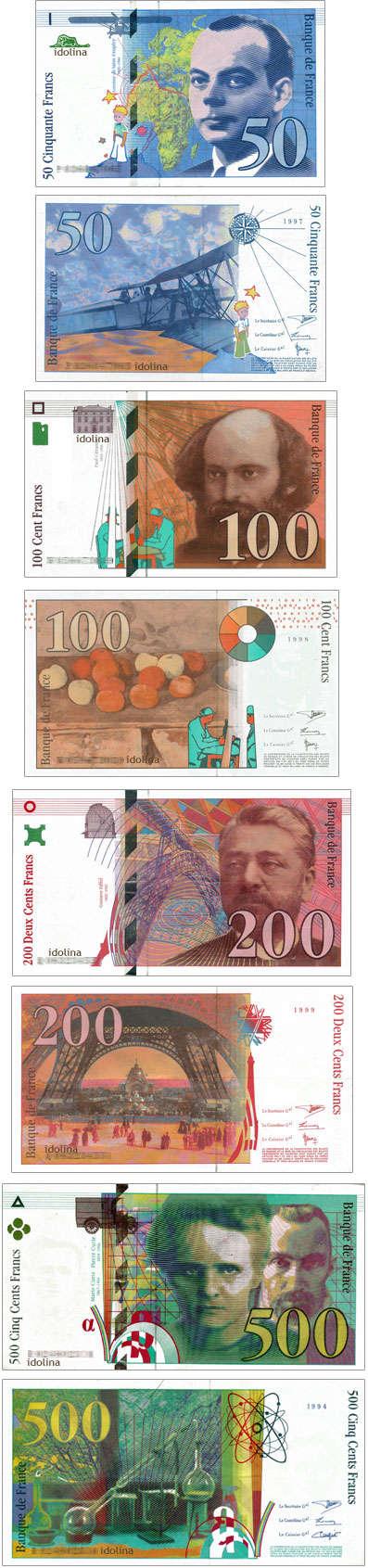 Billets de 50, 100, 200 et 500 francs