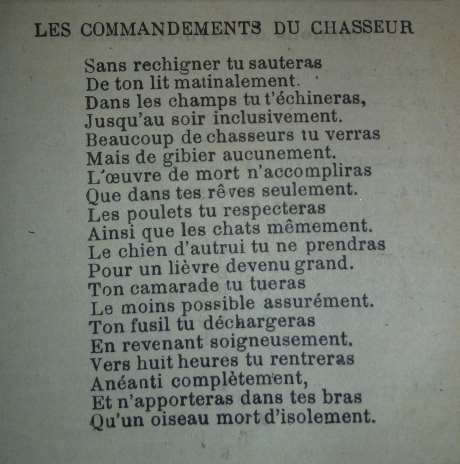commandements du chasseur