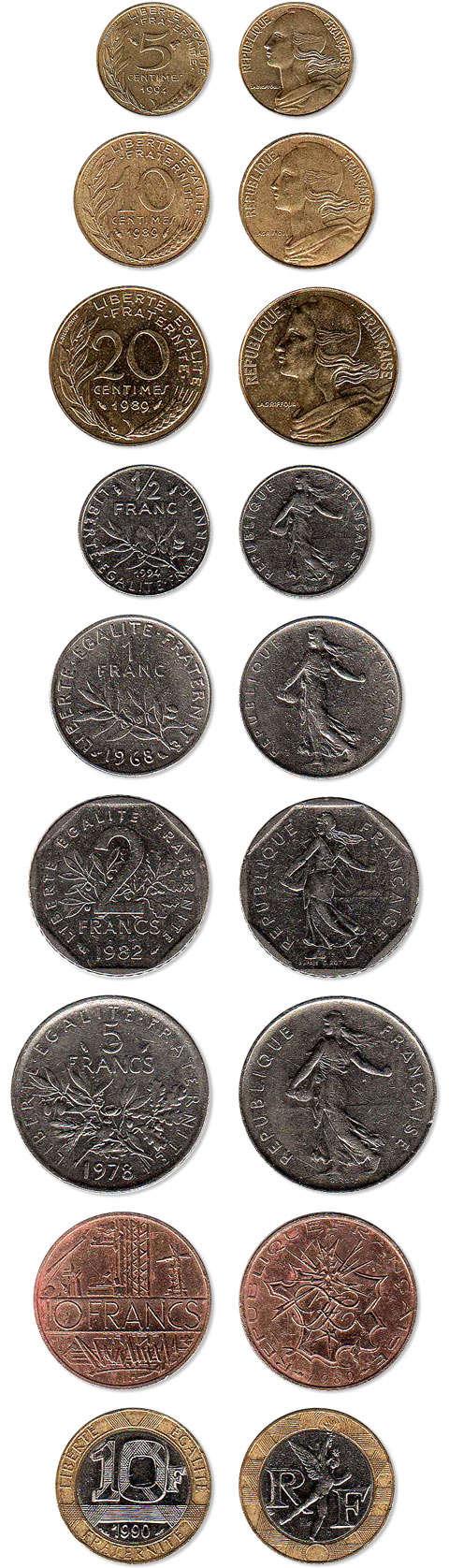 Pièces 10, 20, 50 centimes et 1, 2, 5, 10 francs